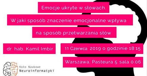 KONFERENCJA. Emocje ukryte w słowach – dr hab. Kamil Imbir. Warszawa